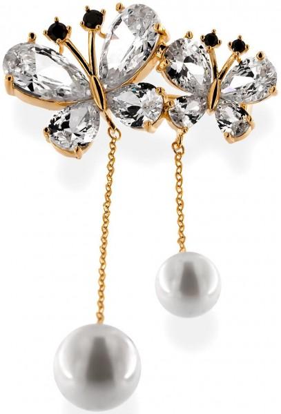 Brosche 2 Schmetterlinge goldfarben mit zwei Perlen, schwarzen und vielen weissen Strass Steinen BR0
