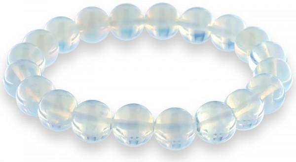 Opalit-Mondstein Armband mit 10mm Mondstein Perlen auf doppelten Gummiband AR007