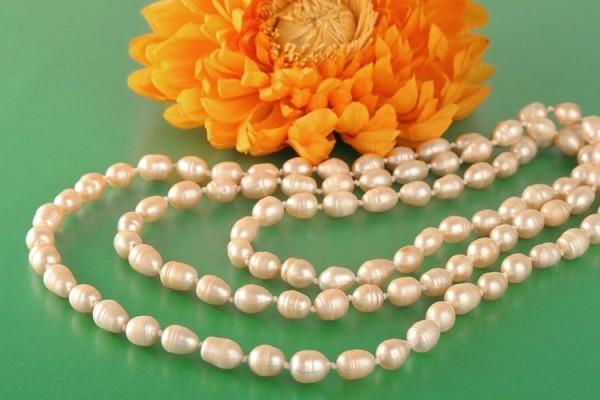 Süßwasser P289 Perlenkette Lachs 9mm Barocke Perlen ca. 160cm Endloskette