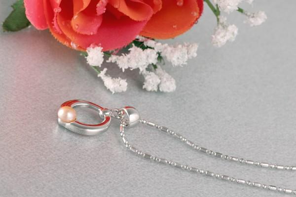 Perlenkette Anhänger Ring mit Süßwasserzuchtperle Lachs Rose versilbert rhodiniert P259