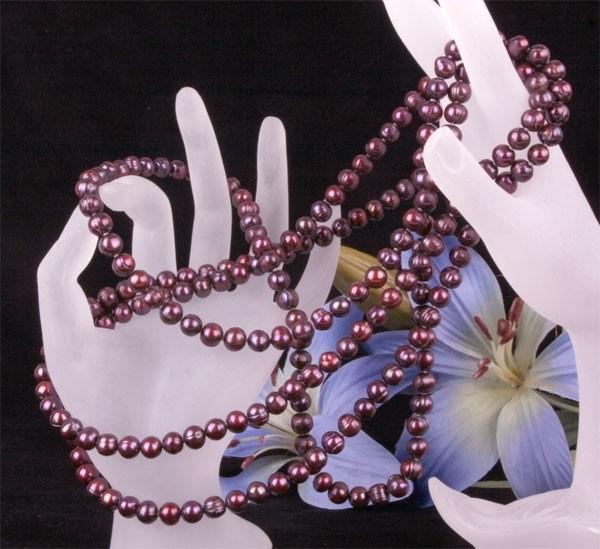 Echte Zucht-Perlenkette Burgundy Weinrot UVP 299€ ca. 160cm 7-8mm NEU