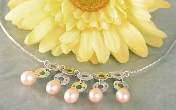 Elegante Silberkette (Sterling 925) mit zehn Ringen+ fünf Süßwasserzuchtperlen P336 lachs oval ca.8m
