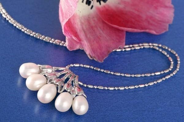 Perlencolliermit 5 Perlen P293 Weiß ca. 41cm Zucht Perlen 7mm Perlenkette