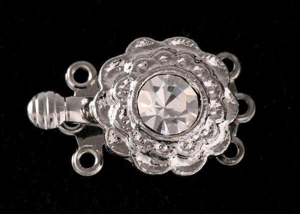 Schließe Clip-Verschluß Schließe Collier-Kette-Armband mit Strass Rhodiniert 3 Augen 19mm V18