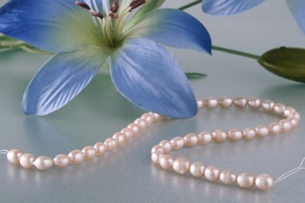 HQ007 Echter Süßwasser-Perlen-Strang oval 7-8mm 38cm lang offen beige