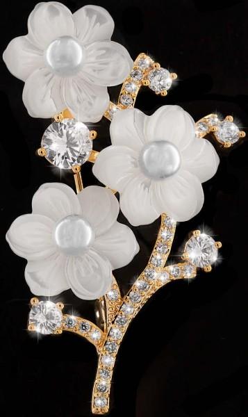 Brosche 3 Perlmutt Blüten goldfarben mit 3 Perlen und vielen weissen Strass Steinen BR017