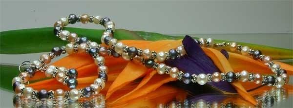 3-er Zucht-Perlenset 3-farbig 6mm Armband Kette Ohrring lachs violett weiss ST01