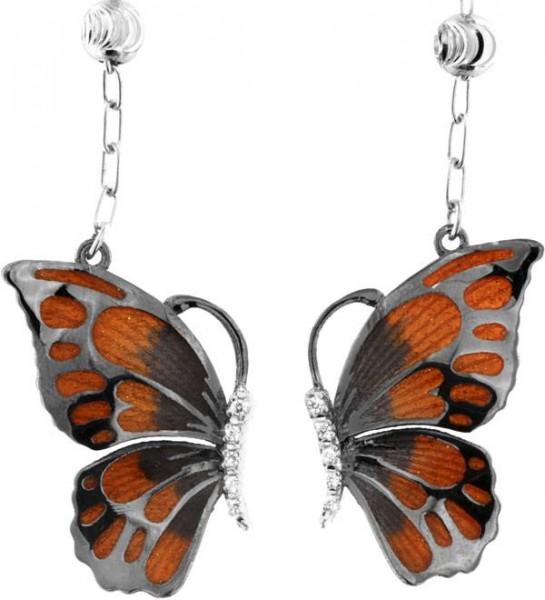 Ohrringe mit Schmetterling Anhänger 2.5cm Orange in 925 Sterling Silber Rhondiert mit Zirkonia ZOR10