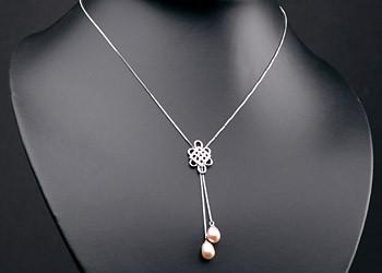 Elegante Silberkette mit Ornament +echten Süßwasserzuchtperlen Perlen oval ca. 8-9mm - Lachs Orange
