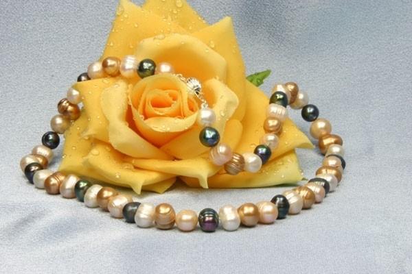 Süßwasser Perlenkette - Bunt - 45cm Perlengröße: ca. 8mm mit Kugelschliesse