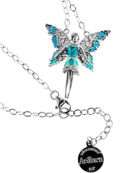 Halskette mit Feen Anhänger 3.0cm Blue in 925 Sterling Silber Rhodiniert ZCL1128-MB