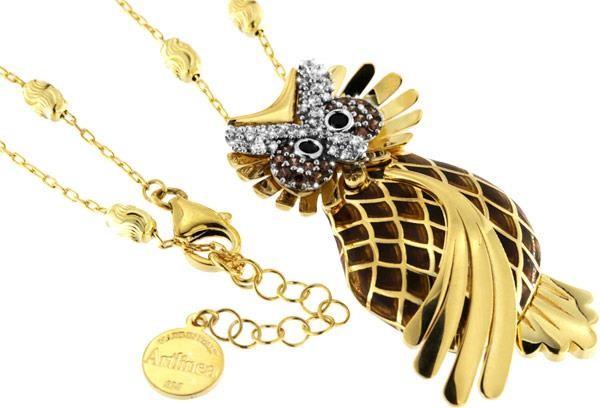 Halskette mit Eule Anhänger 5.0cm gold in 925 Sterling Silber Vergoldet mit Zirkonia ZCL936-MN
