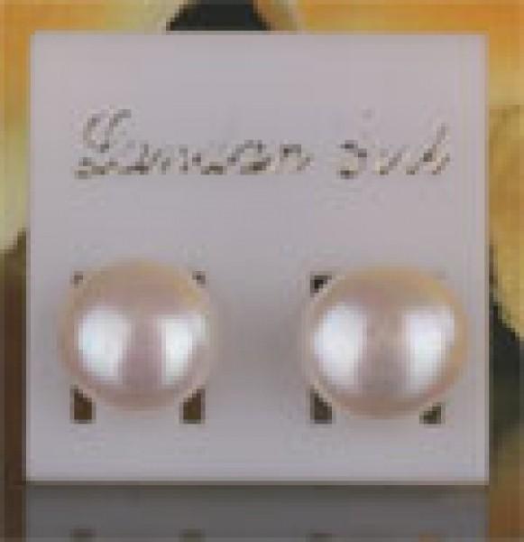 Echte Süsswasserperlen Perlen Ohrstecker O109 ca. 7-8mm Weiss NEU