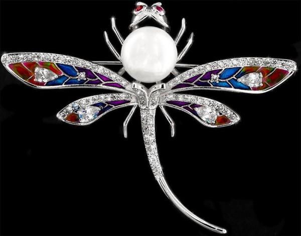 Brosche Libelle mit Perle silberfarben, mit roten und vielen weissen Strass Steinen BR031