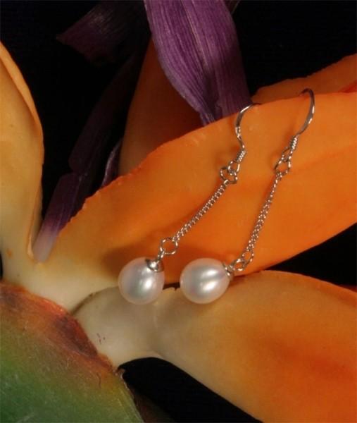 Perlenohrring Paar (2 Stück) an 925 SS Silber - Weiss 6-7mm - Naturfarben