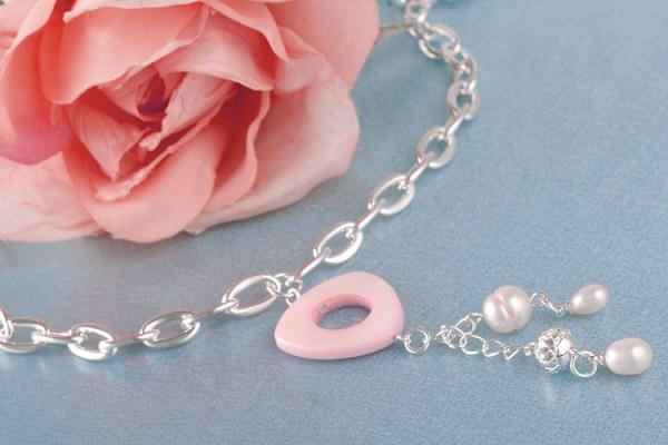 Perlencollier Amulett Süßwasserzuchtperle MOP Perlmutt und Straßstein weiß versilbert rhodiniert