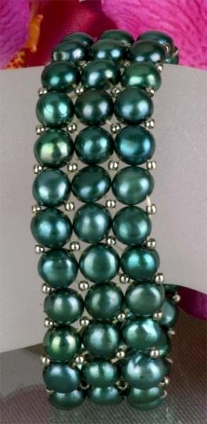 Echtes Perlen Armband 3-Reihig Süsswasser Patrol Grün auf Gummi gezogen A104 NEU - aus Süsswasserzuc