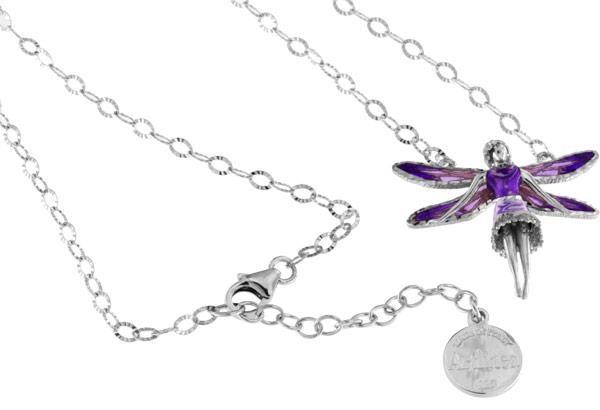 Halskette mit Feen Anhänger 3.0cm Violett in 925 Sterling Silber Rhodiniert mit Zirkonia ZCL1134-MB