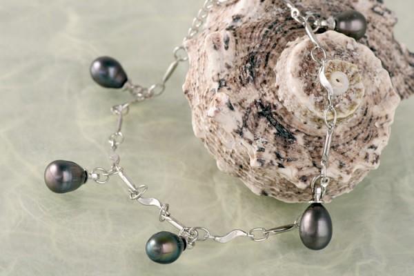 Silberarmband (925) mit Perlen P325 tahiti schwarz violett