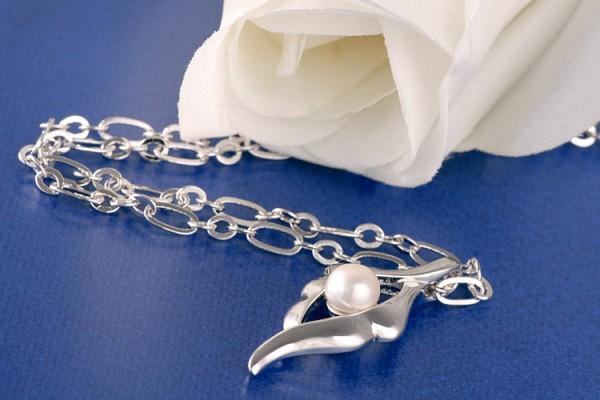 Perlenkette Anhänger mit Süßwasserzuchtperle Weiss versilbert rhodiniert P265