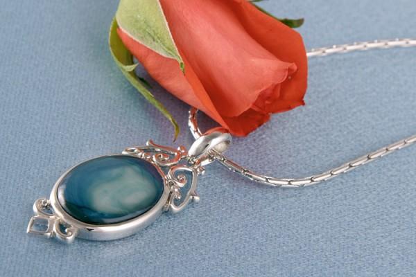 Perlenkette Anhänger Amulett MOP Perlmutt Blau Dunkeltürkis versilbert rhodiniert P191
