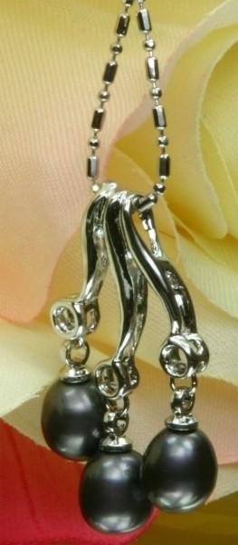 Echtes Exklusives Zucht-Collier 3-Perlen 18KGP Schwarze P501