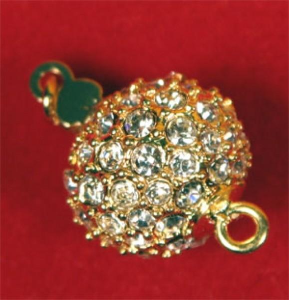 Perlenschließe Gelbgoldfarben Kugel mit Strass-Steinen