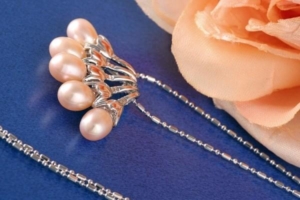 Perlencollier 5 Perlen P294 Lachsfarben ca. 41cm Zucht Perlen 7mm Perlenkette