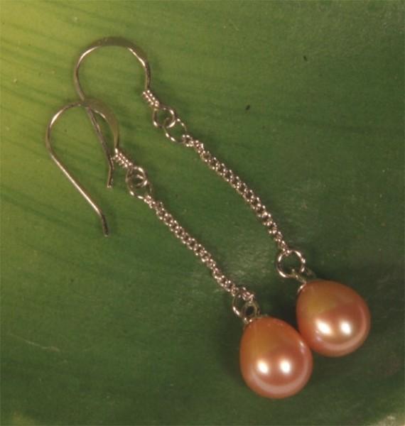 Ohrringe Lachsfarben 925 Silber Süßwasser Perlen-Ohrringe naturfarben O107 NEU