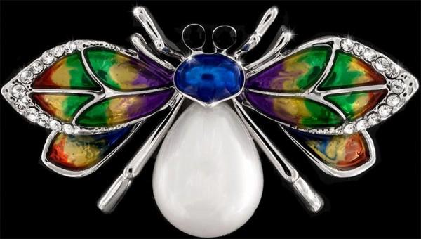Brosche mit Perle Käfer silberfarben schwarzen und vielen weissen Strass Steinen BR035