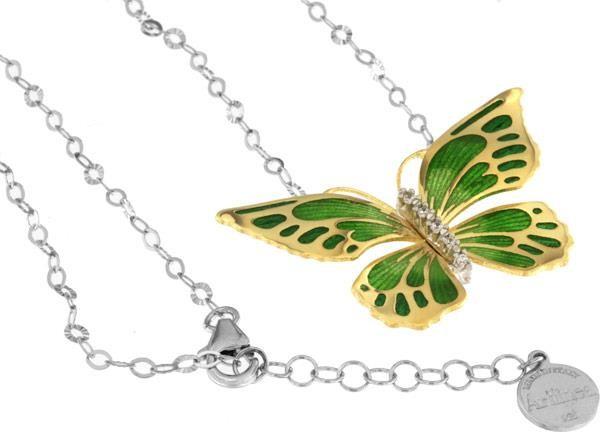 Halskette mit Schmetterling Anhänger 4.5cm grün in 925 Sterling Silber Vergoldet mit Zirkonia ZCL924