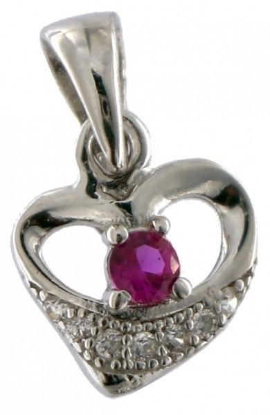 Anhänger Herz Silber - 925 Sterling Silber - mit Strass Stein in Pink AHH01