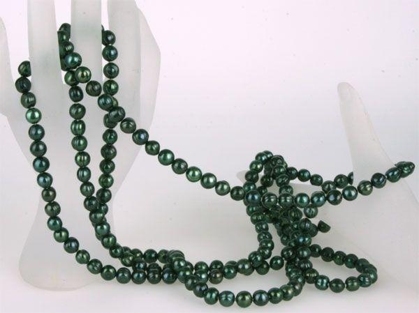 Echte Zucht-Perlenkette dunkelgrün UVP299€ ca 160cm 7-8mm NEU