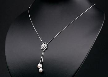Elegante Silberkette mit Ornament +echten Süßwasserzuchtperlen Perlen oval ca. 8-9mm - weiß -