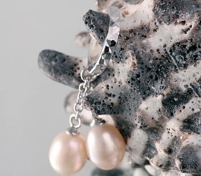 Edle Silberohrringe (925SS) Creolen 2 Perlen P354 lachs Silberkreolen