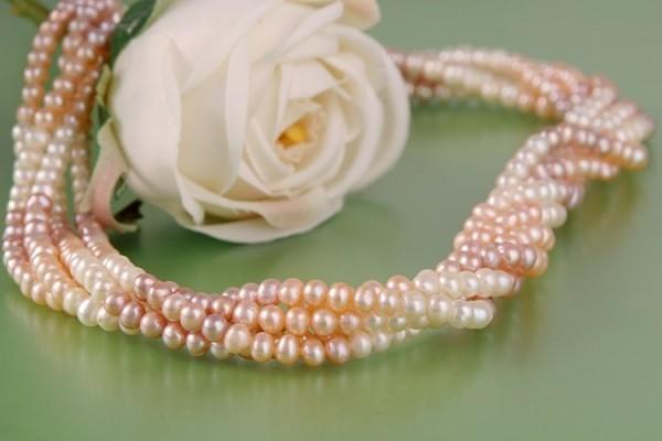 Echtes Zucht-Perlen-Collier P003 3-Farbig 5-reihig gedreht - rosé, lachs, weiss - Perlen-Kette