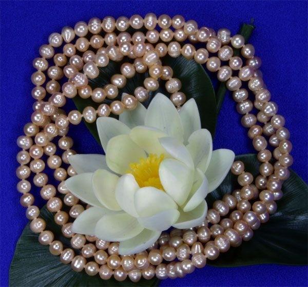 Süswasser Perlenkette Rose (Orange) Naturfaben ungefärbt ca. 160cm Endloskette