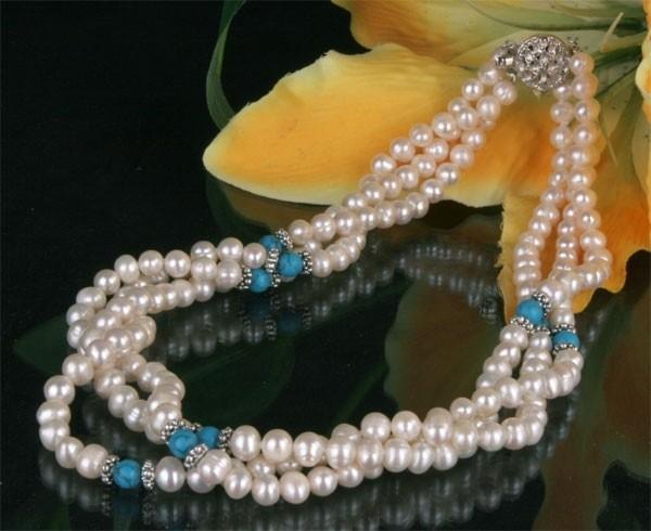 Zucht-Perlen-Collier P901 3-reihig weiß mit Türkisen Perlencollier 44cm NEU