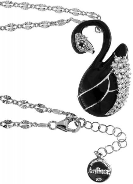 Halskette mit Schwan Anhänger 4.0cm Black in 925 Sterling Silber Rhondiert mit Zirkonia ZCL1150-MB