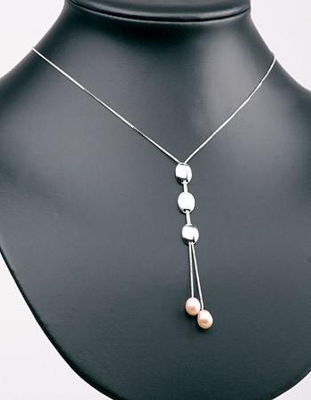 Elegante Silberkette (925) Medallions+Perlen P334 Lachs Orange