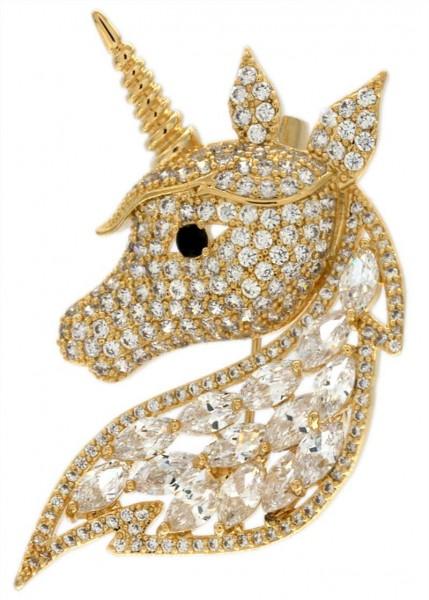 Brosche goldenes Einhorn goldfarben und mit vielen weissen Strass Steinen BR017