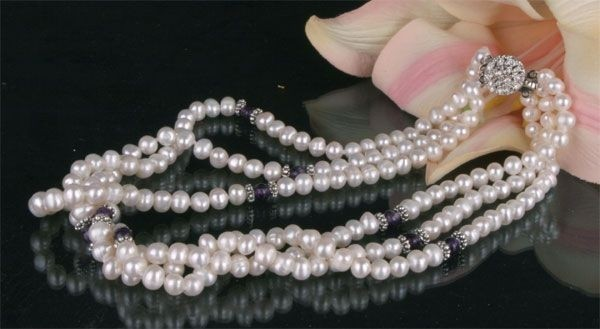 Zucht-Perlen-Collier P903 3-reihig weiß mit Amethysten Perlencollier 44cm NEU