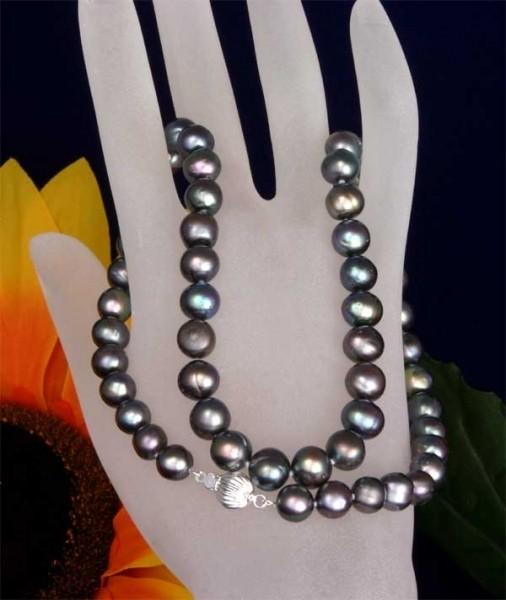 Echte Zucht-Perlenkette Tahiti-Schwarz 55cm 8mm mit Kugel-Schliesse ca. 8mm K114