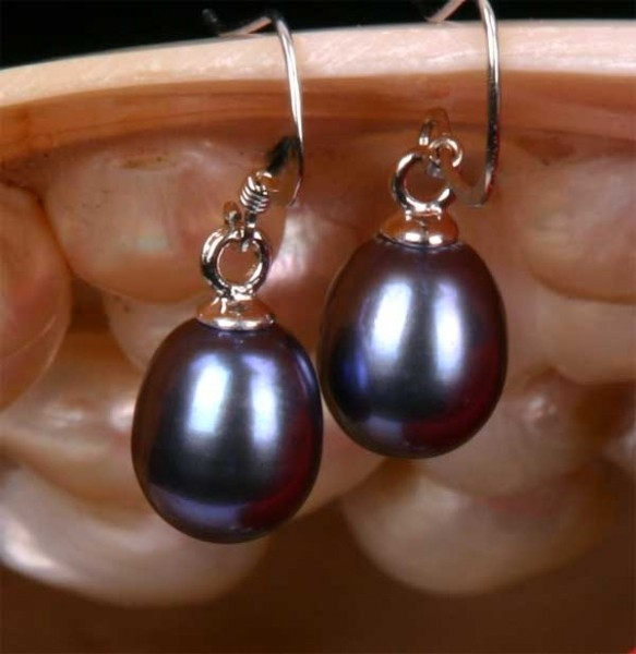 925 Sterling Silber Süßwasser Zucht-Perlen-Ohrringe Hänger - Tahiti - ca. 7mm