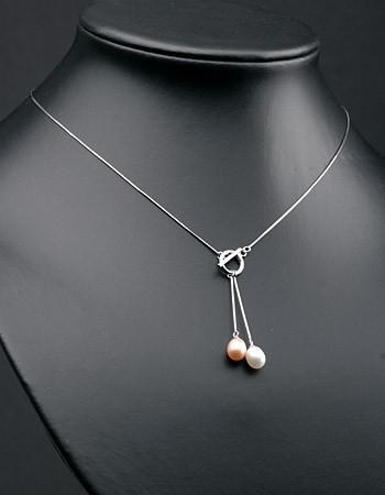 Elegante Silberkette(925) Verschl.vorn P340 weiß/lachs