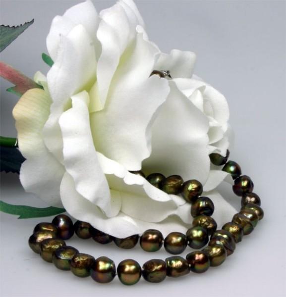 Perlenkette Kupfer ca. 9-10mm Barock ca.45cm Süsswasser-Perlen gefärbt K101 NEU