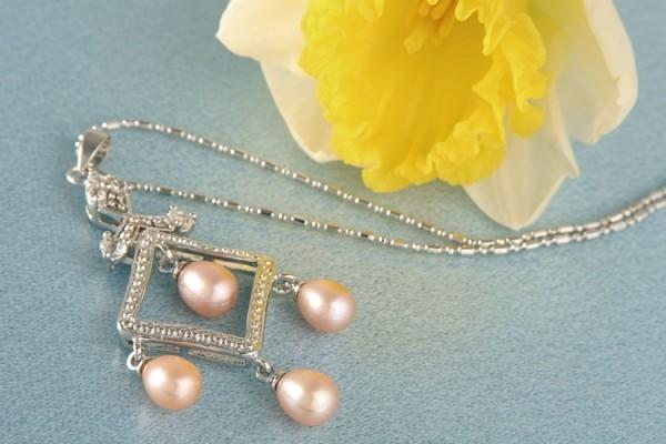 Perlencollier m. Staßsteinen P291 Weiß ca. 41cm Zucht Perlen 8mm Perlenkette