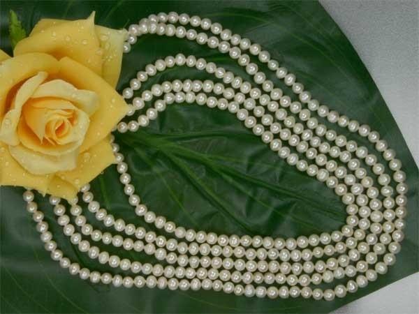 Echtes 5-Reihiges Perlen Collier aus Süsswasser Perlen Stella Weiss C01