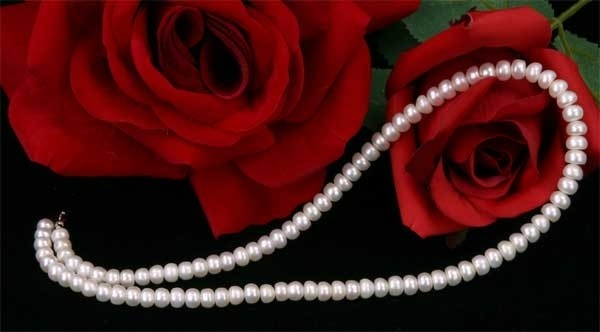 Perlenkette Weiss ca.6-7mm Buttonshape Süsswasser-Perlen ca.45cm K107