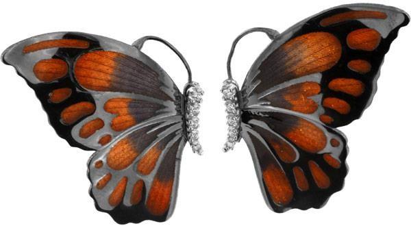 Ohrringe in Schmetterlingform 3.0cm Orange in 925 Sterling Silber Rhondiert mit Zirkonia ZOR979-ML